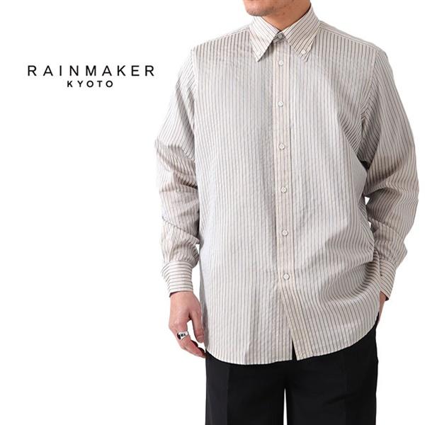 RAINMAKER レインメーカー シワ加工 ボタンダウン ストライプシャツ RM201-030