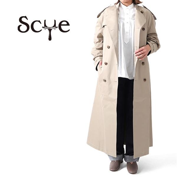 Scye サイ コットンシルク オーバーサイズ ノーカラー トレンチコート 1220-71024