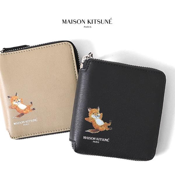 Maison Kitsune メゾンキツネ チラックスフォックス ランドファスナー レザー 財布 EU05312LC0008